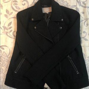 Black Wool jacket with Knit sleeves